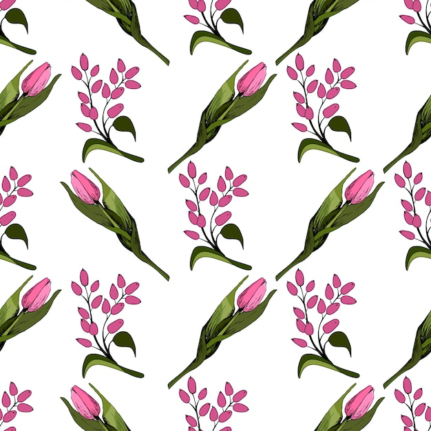 Nahtloser hintergrund mit farbigen rosa tulpen Premium Vektoren