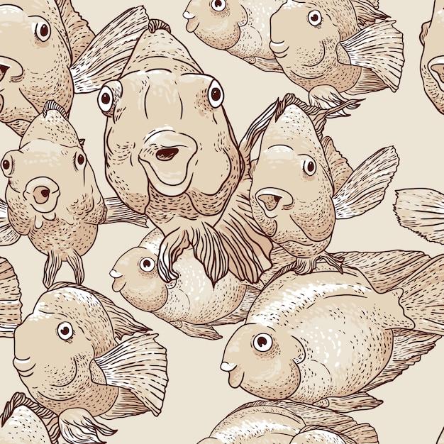 Nahtloser hintergrund mit fischen Premium Vektoren