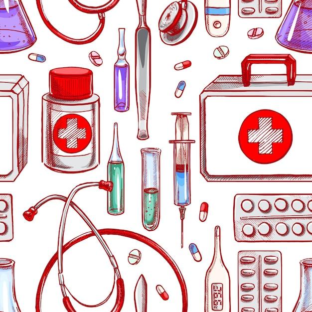 Nahtloser hintergrund mit medizinischer versorgung. handgezeichnete illustration Premium Vektoren