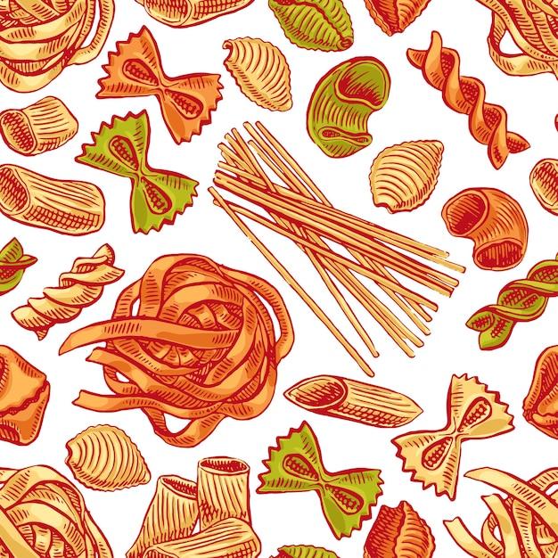 Nahtloser hintergrund mit verschiedenen arten von nudeln. handgezeichnete illustration Premium Vektoren