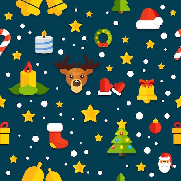 Nahtloser hintergrund mit weihnachtselementen in einer flachen art Premium Vektoren