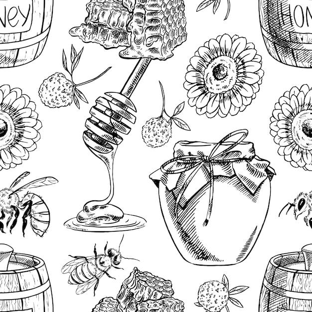 Nahtloser hintergrund von honiggläsern, bienen, blumen. handgezeichnete illustration Premium Vektoren