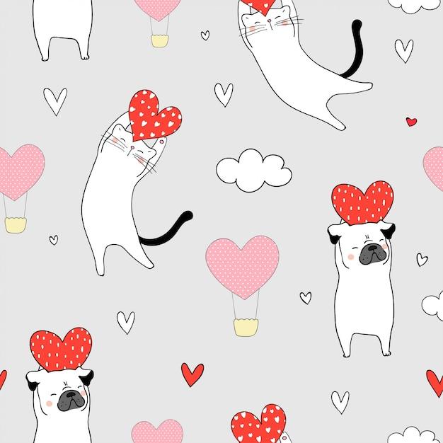 Nahtloser katzen- und pughund, der rotes herz für valentinsgruß hält Premium Vektoren