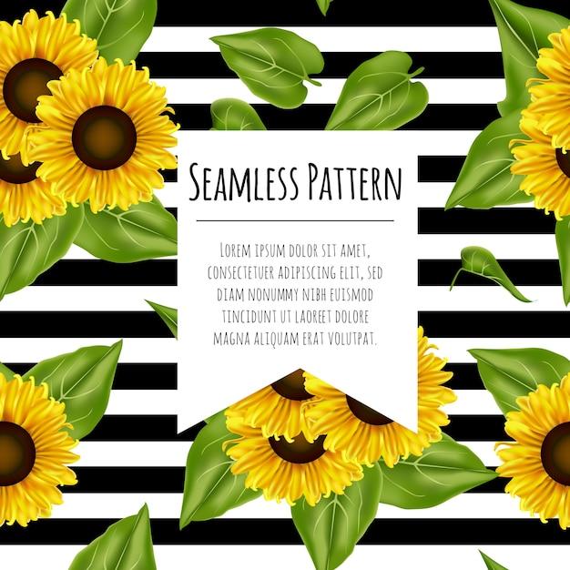 Nahtloser muster-sonnenblumen hintergrund Premium Vektoren