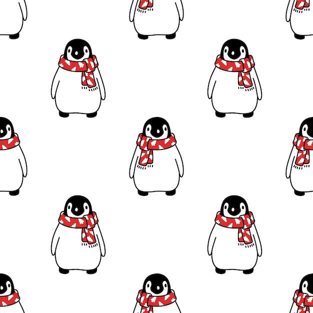 Nahtloser muster-weihnachtsmann-weihnachtsmann-karikatur des pinguins Premium Vektoren