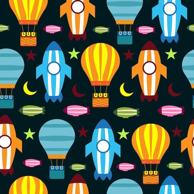 Nahtloser musterballon-raketenmond und -stern bunt Premium Vektoren