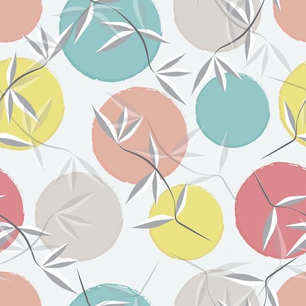 Nahtloser musterhintergrund der abstrakten blätter und des pastellkreises Premium Vektoren