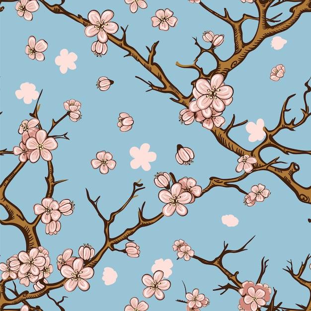 Nahtloser musterhintergrund der kirsche oder der kirschblüte Premium Vektoren