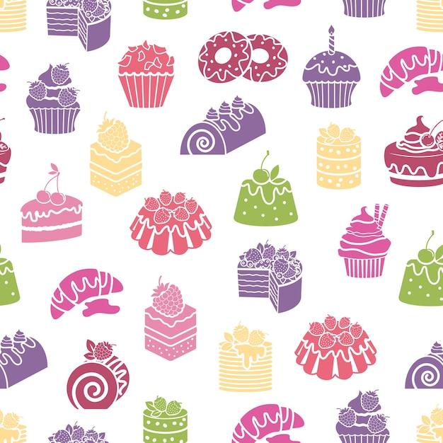 Nahtloser musterhintergrund von kuchen und süßigkeiten. dessert und essen, sahne und bäckerei, vektorillustration Kostenlosen Vektoren