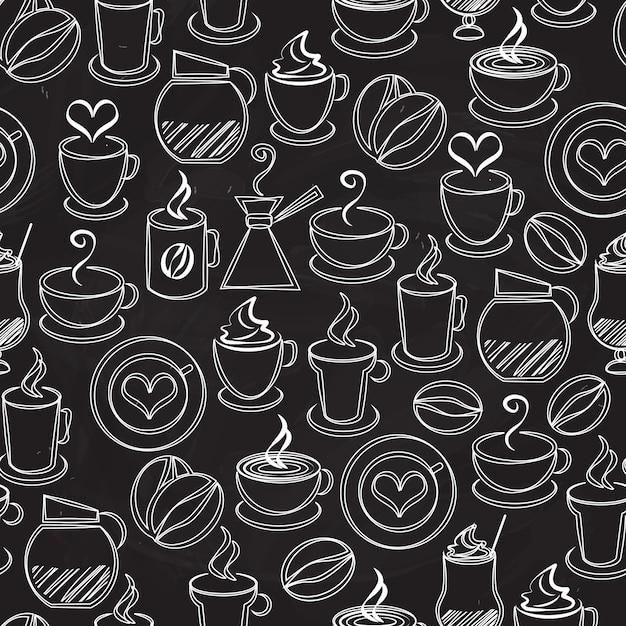 Nahtloser musterhintergrundvektor des kaffees mit weißen symbolen auf schwarz einer kaffeekanne und eines perkolators dampfende becher und tassenbohnenherzen-espressofilter-cappuccino und eiskaffee im quadratischen format Kostenlosen Vektoren