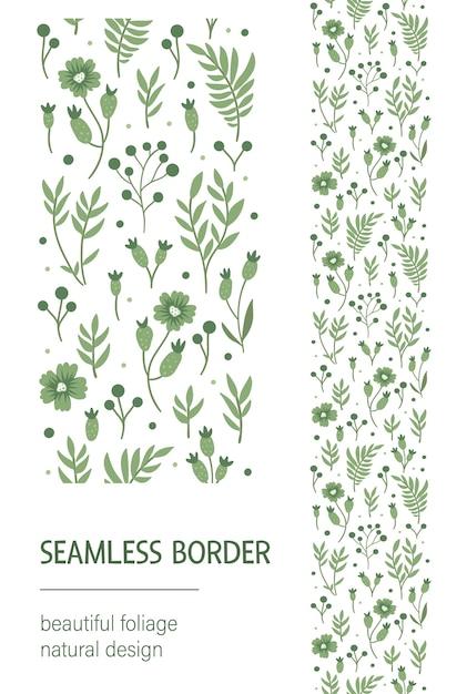Nahtloser musterpinsel mit grünen blättern, beeren, blumen auf weißem hintergrund. Premium Vektoren