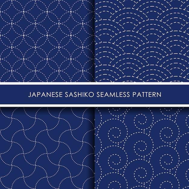 Nahtloser mustersatz des japanischen sashiko Premium Vektoren