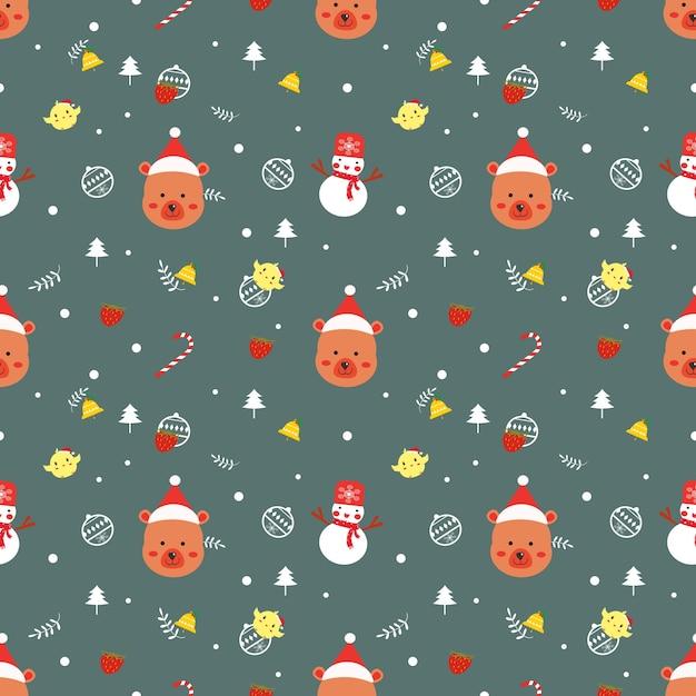 Nahtloser mustervektor des netten bärn-weihnachten. Premium Vektoren