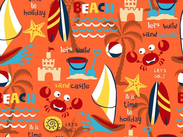Nahtloser mustervektor des strandurlaub-themasatzes Premium Vektoren