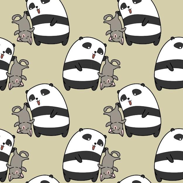 Nahtloser panda zieht katzenmuster an. Premium Vektoren