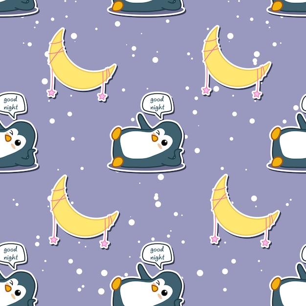 Nahtloser pinguin sagt gute nacht mit mondmuster. Premium Vektoren