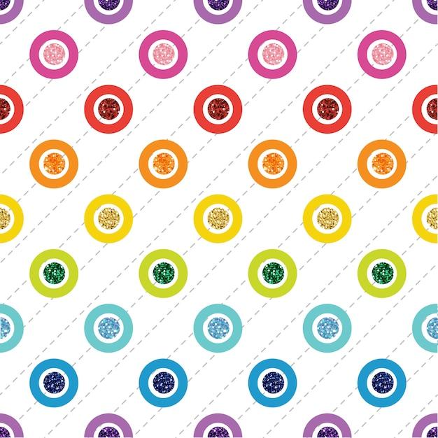 Nahtloser regenbogen bunter punkt glitter auf weißem hintergrund Premium Vektoren