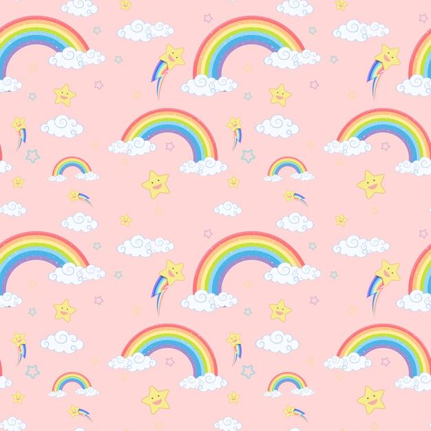 Nahtloser regenbogen mit wolken- und sternmuster auf rosa hintergrund Premium Vektoren