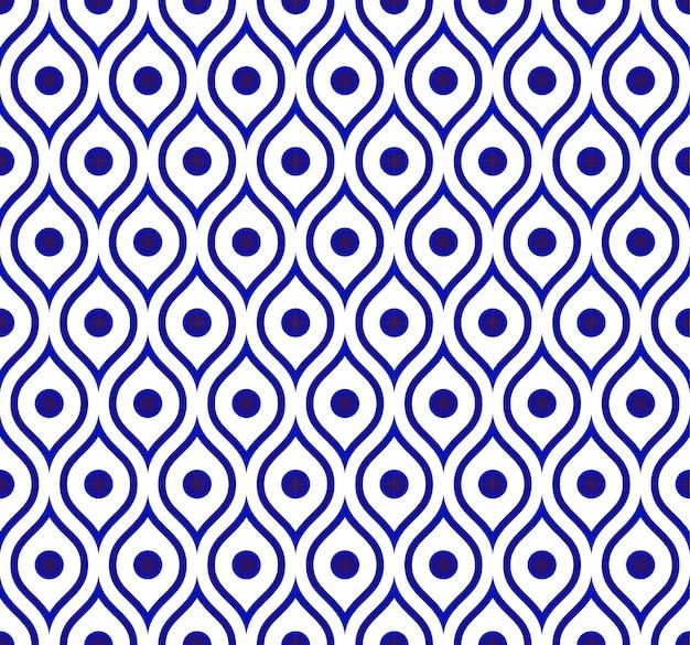 Nahtloser thailändischer muster-, keramischer blauer und weißer moderner formhintergrund Premium Vektoren
