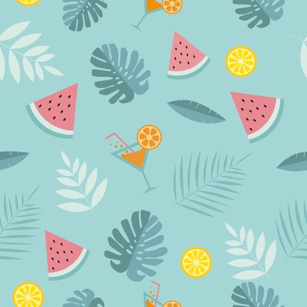 Nahtloser tropischer sommerhintergrund. wassermelone, cocktail, tropische blätter, zitrone auf einem blauen hintergrund. Premium Vektoren