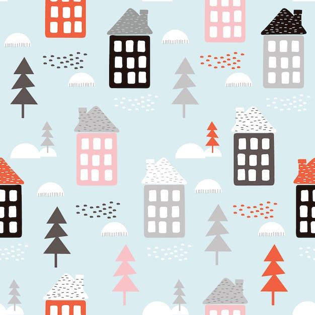 Nahtloser weihnachtshintergrund mit haus und baum Premium Vektoren