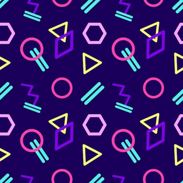 Nahtloses abstraktes geometrisches muster im retrostil. Premium Vektoren