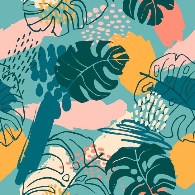 Nahtloses abstraktes muster mit tropischen anlagen Premium Vektoren