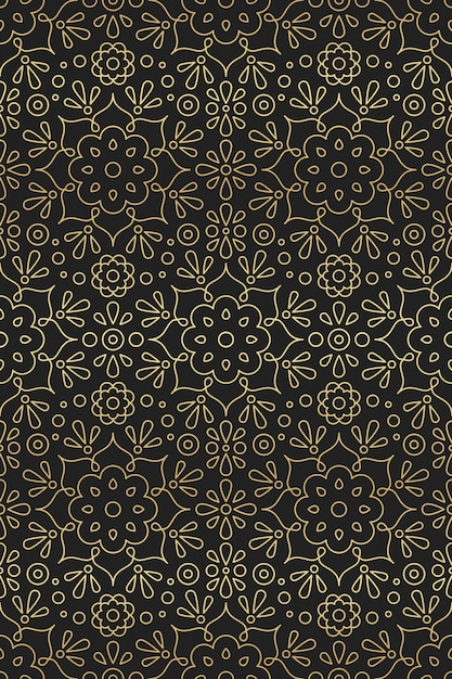 Nahtloses arabisches und indisches muster mit mandala-, blumen- und lotusverzierung im goldenen farbverlauf der orientalischen motive auf schwarzem hintergrund Premium Vektoren