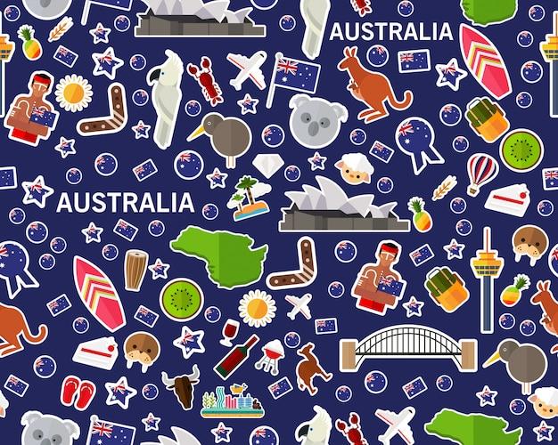 Nahtloses beschaffenheitsmuster australien des vektors flach Premium Vektoren