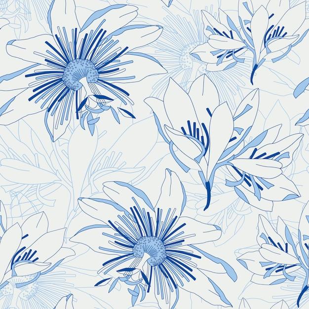 Nahtloses blaues muster mit blumenlilie Premium Vektoren