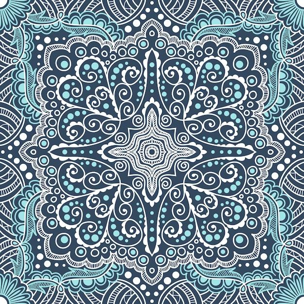 Nahtloses blaues muster von spiralen, strudeln, ketten auf einem schwarzen hintergrund Premium Vektoren
