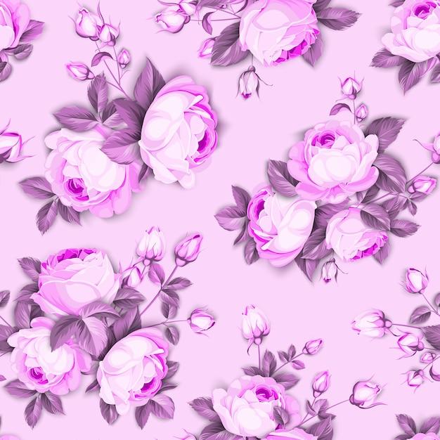 Nahtloses blumenmuster. blühende rosen auf rosa hintergrund. Kostenlosen Vektoren