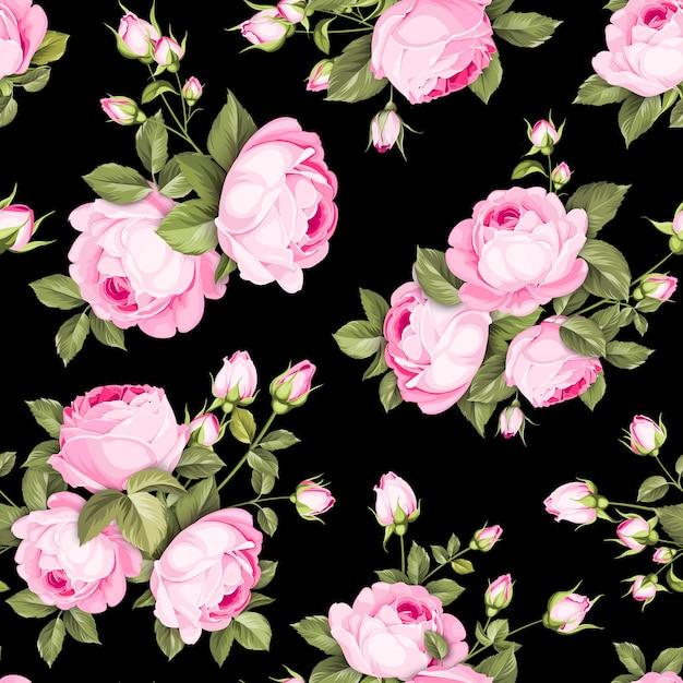 Nahtloses blumenmuster. blühende rosen auf schwarzem hintergrund. Kostenlosen Vektoren