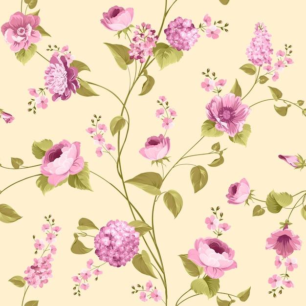 Nahtloses blumenmuster. blühende rosen und flieder auf rosa hintergrund. Kostenlosen Vektoren