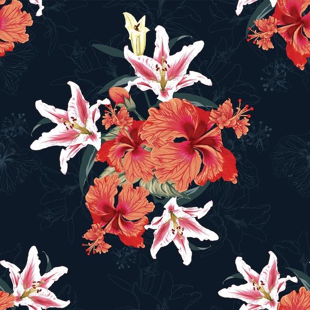 Nahtloses blumenmuster lilly- und hibiskusblüten Premium Vektoren
