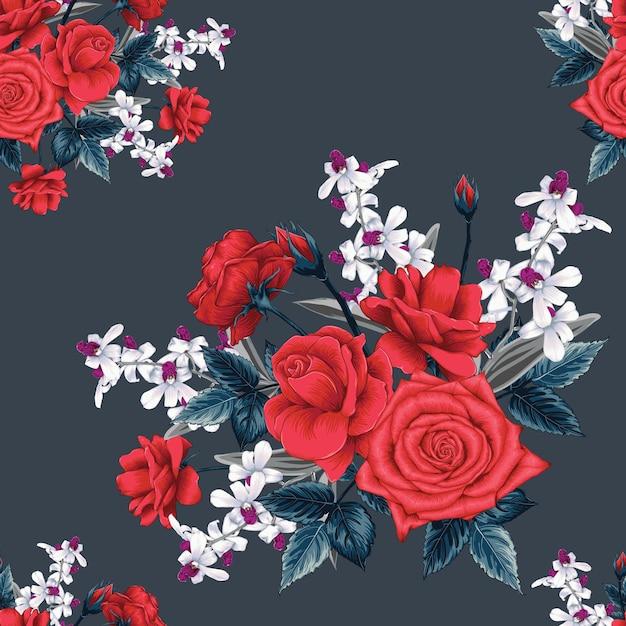 Nahtloses blumenmuster mit abstraktem hintergrund der rosen- und orchideenblumen. Premium Vektoren