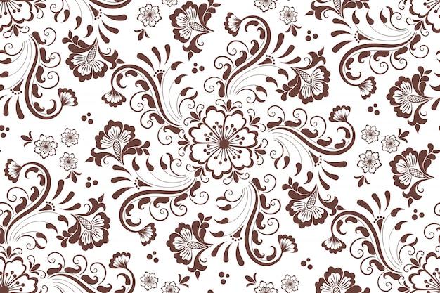 Nahtloses blumenmusterelement im arabischen stil. arabeskenmuster. Kostenlosen Vektoren