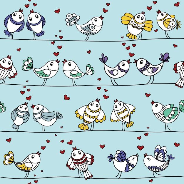 Nahtloses buntes muster mit liebhabervögeln Premium Vektoren