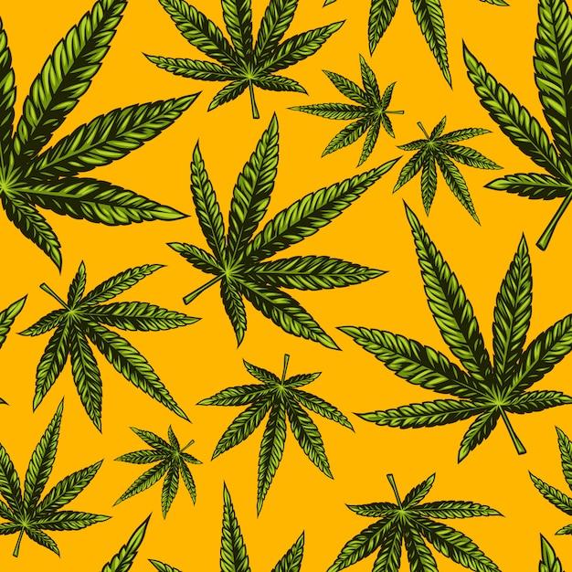 Nahtloses cannabis-muster Premium Vektoren