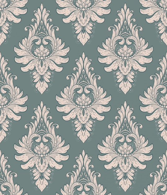 Nahtloses damastmusterelement. vektor klassischer luxus altmodische damastverzierung, königliche viktorianische nahtlose beschaffenheit für tapeten, textil, verpackung. vintage exquisite blumenbarockschablone. Kostenlosen Vektoren