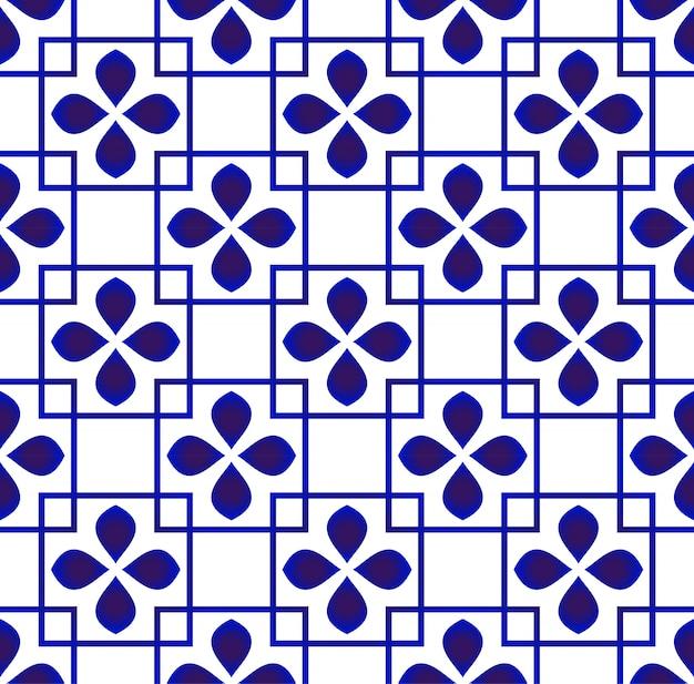 Nahtloses design des netten blumenhintergrundes, des blauen und weißen keramischen musters Premium Vektoren