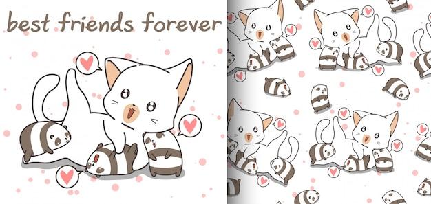 Nahtloses entzückendes muster der katze und der kleinen pandas Premium Vektoren