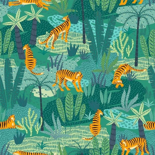 Nahtloses exotisches muster mit tiger im dschungel. Premium Vektoren