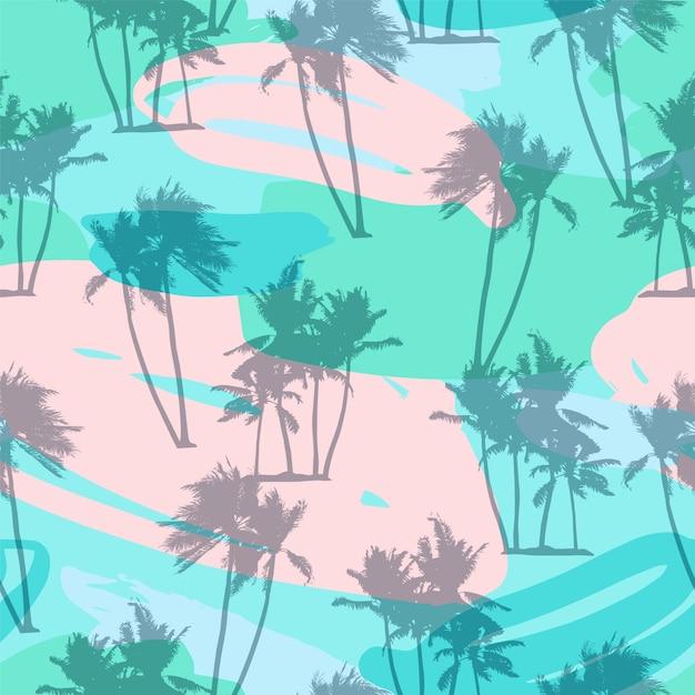 Nahtloses exotisches muster mit tropischen anlagen. Premium Vektoren