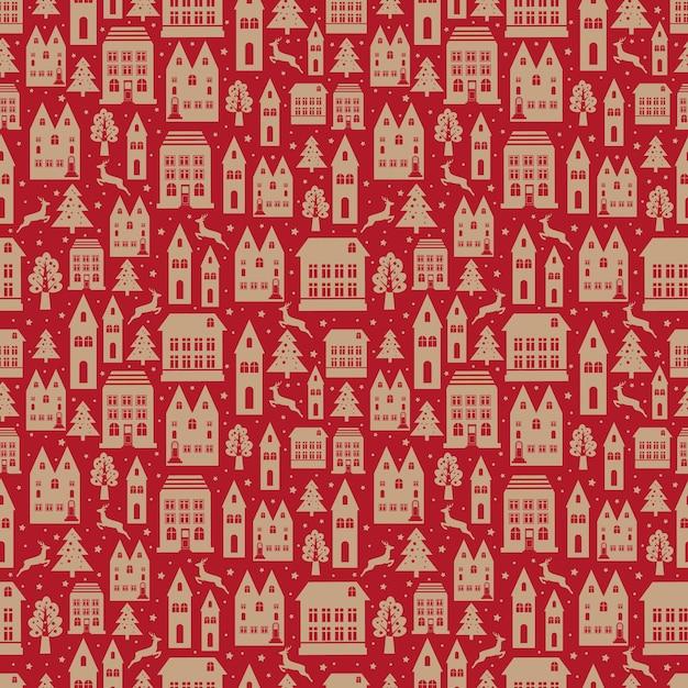Nahtloses farbmuster der alten stadt mit alten gebäuden für tapete oder hintergrunddesign auf rot. weihnachts- und neujahrswinterhintergrund. Premium Vektoren