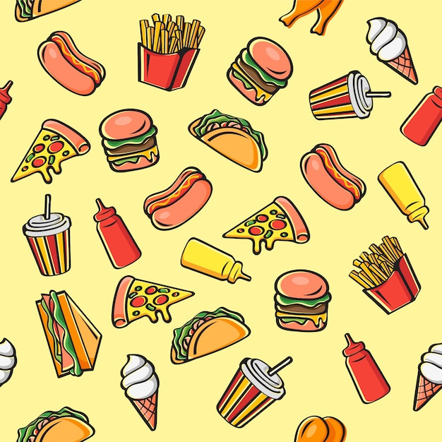 Nahtloses fastfood-karikatur-muster Premium Vektoren