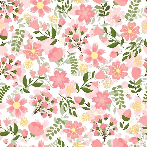 Nahtloses frühlingsblumen mit einem dichten muster der hübschen rosa blüte und der blumen mit grünen blättern im quadratischen format, geeignet für tapeten- und textilvektorillustration Kostenlosen Vektoren