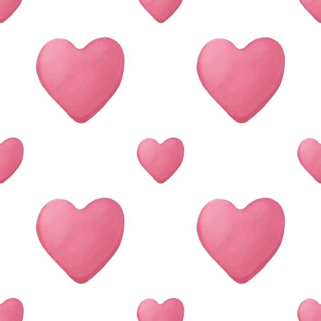 Nahtloses geometrisches muster mit handgezeichnetem herz des rosa aquarells Premium Vektoren