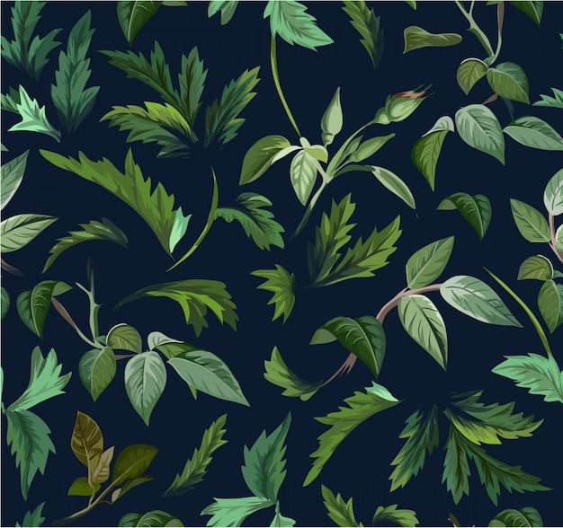 Nahtloses grünes blattillustrationsmuster Premium Vektoren