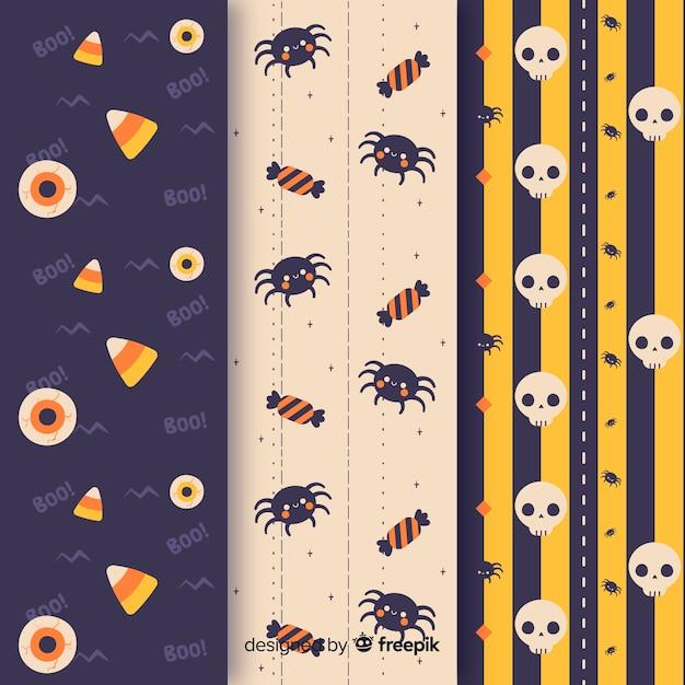 Nahtloses halloween-muster der spinnen und der schädel Kostenlosen Vektoren